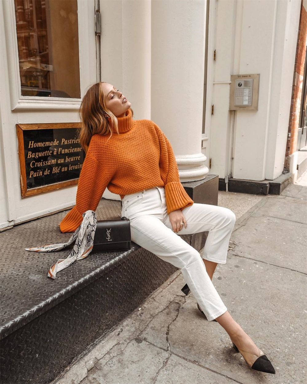 Photo of Solid color high collar sweater sweater