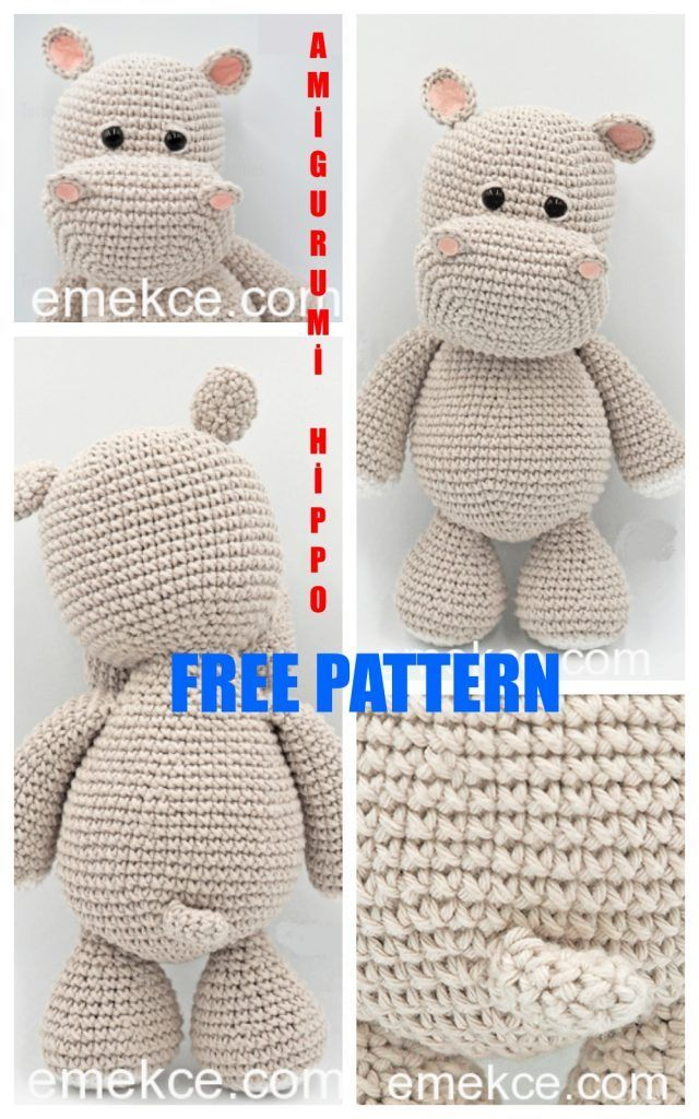 Amigurumi Cute Hippopotamus Free Crochet Pattern - Amigurumi Patterns #knittedtoys