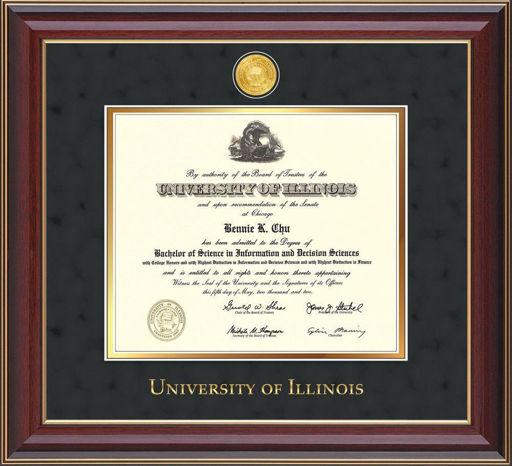 U Of Illinois Diploma Frame C Lacquer W Illinois Medallion Black Suede Professional Framing Company Diploma Frame Unique Graduation Gifts Frame