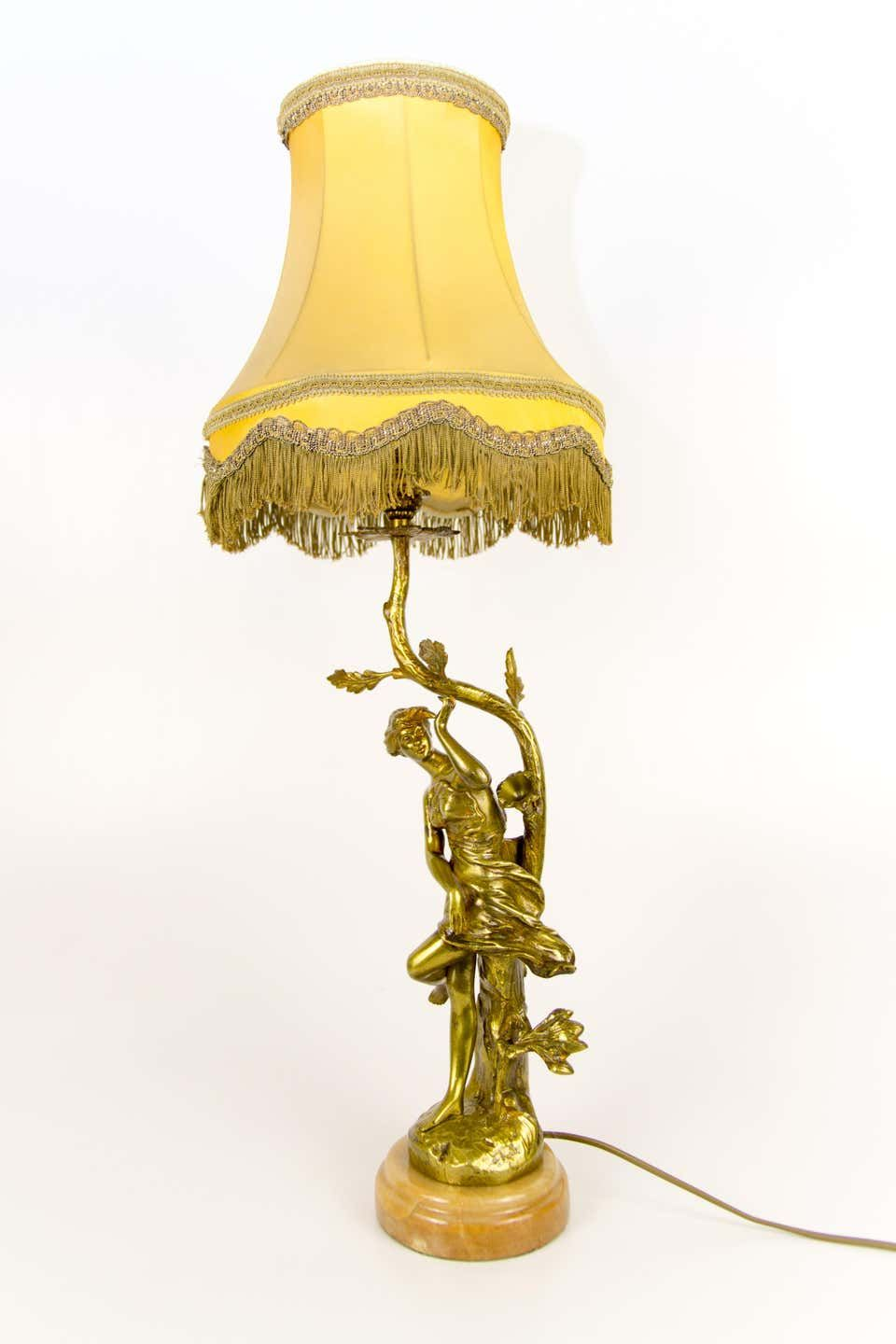 Bronze And Onyx Table Lamp With Lady Figure And Yellow Fabric Lamp Shade Table Lamp Lamp Bronze Table Lamp