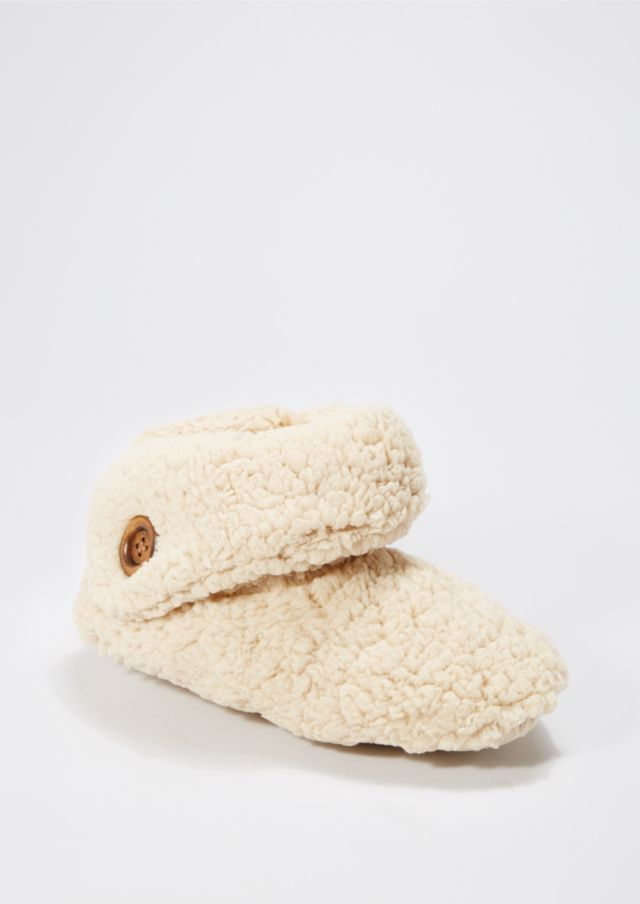 image of Camel Fuzzy Fleece Fold-Over Slippers