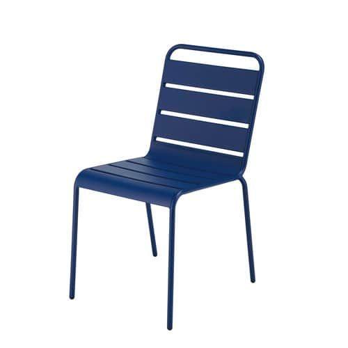 Chaise De Jardin Empilable En Metal Bleu Marine Chaise De Jardin Salon De Jardin Metal Mobilier De Salon