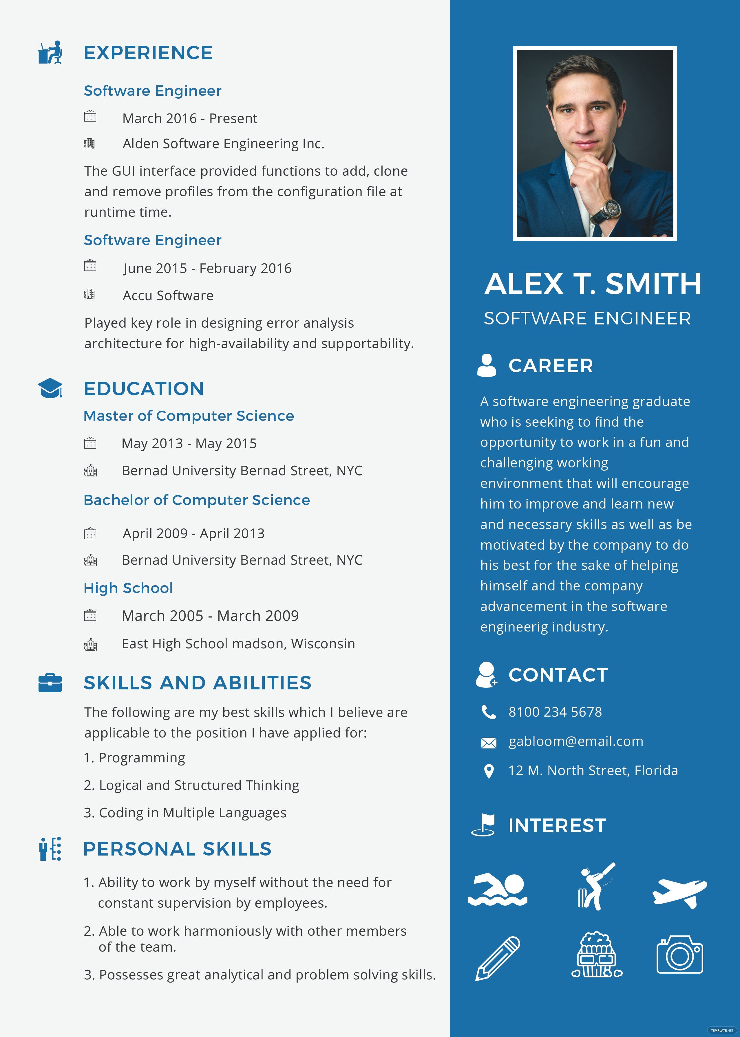 Free Resume And Cv For Software Engineer Fresher Template In Psd Ms Word Publisher Best Free Engineering Resume Templates Resume Software Engineering Resume