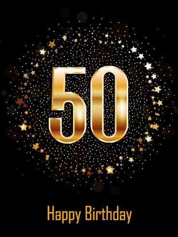 Golden Happy 50th Birthday Card Birthday Greeting Cards By Davia Happy 50th Birthday Wishes Happy 50th Birthday 50th Birthday Wishes
