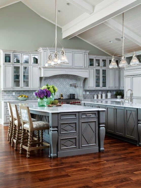 Stunning Kitchen With Vaulted Wood Planked Ceilings Over Walls Painted Restoration Hardware Silver Sage Which Frame Gray Glazed Cabinets Accented