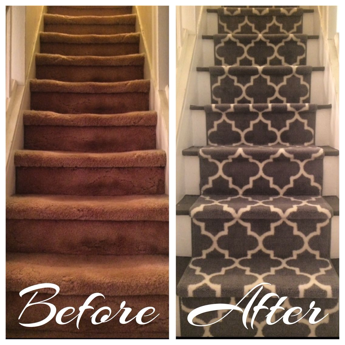 Before And After Diy Stairway Redesign So Easy Step 1