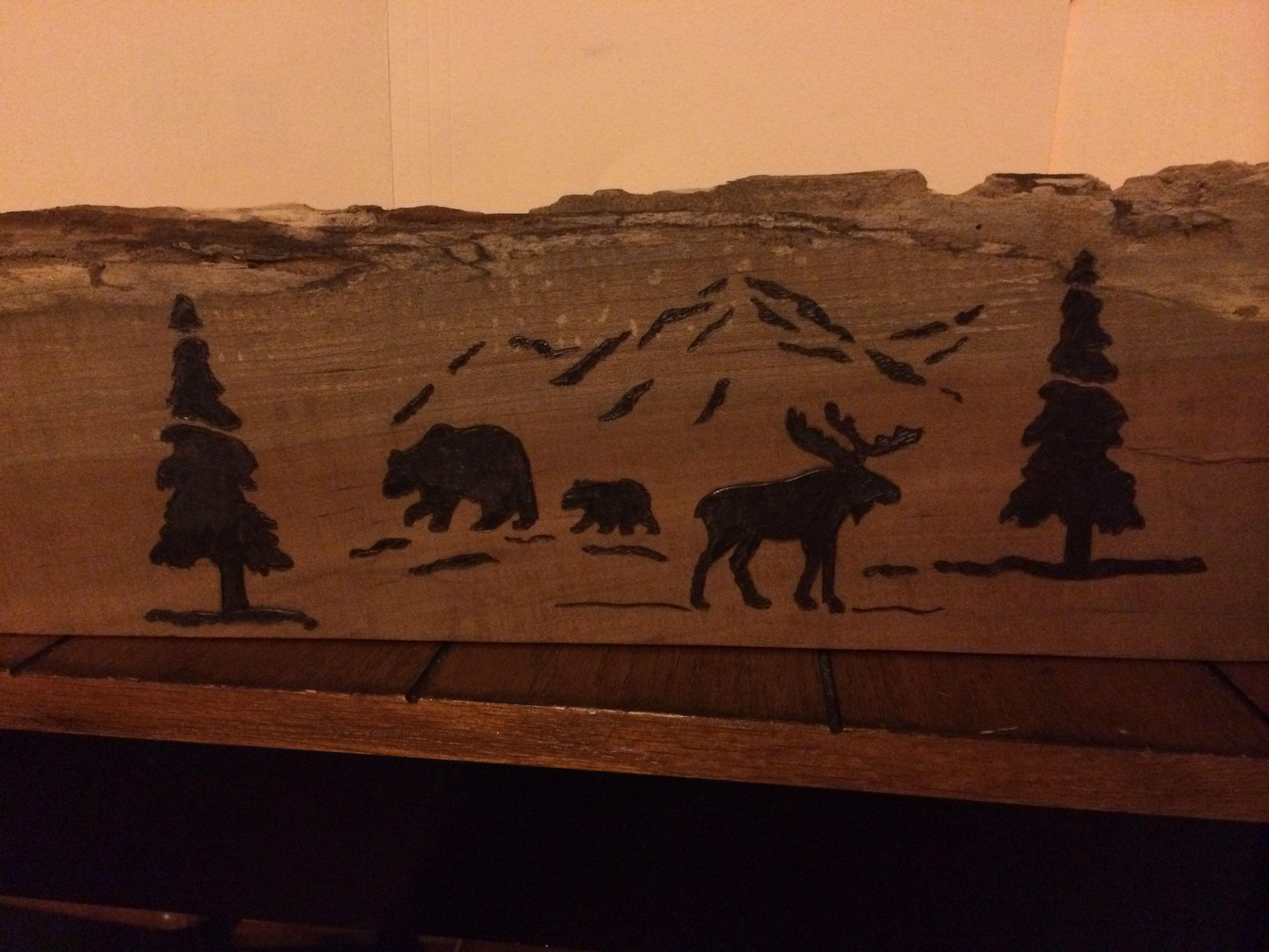 Bear and Moose. Wood burning. Pyrography. Wood craft.   Wood Burning ...