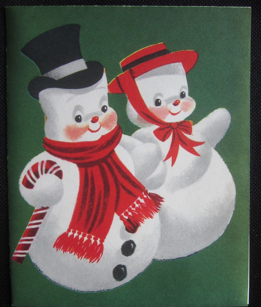 Vintage Christmas Greeting Card Mr and Mrs Snowman Clean Nice