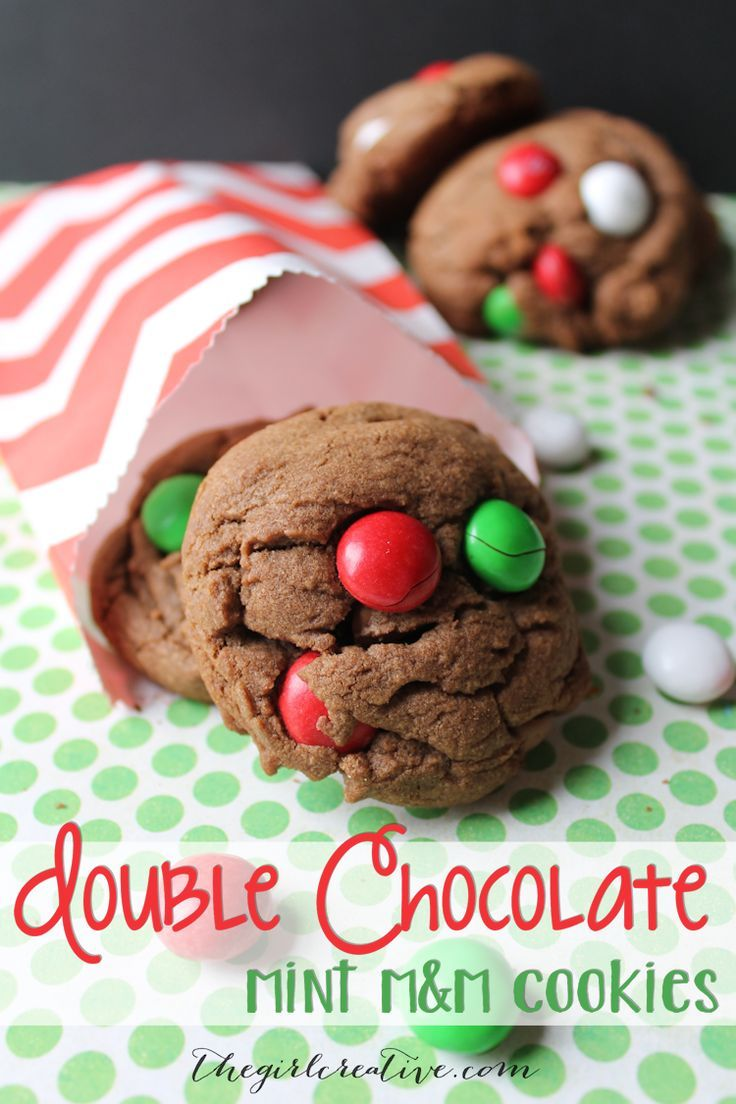 Double Chocolate Mint M&M Cookies: