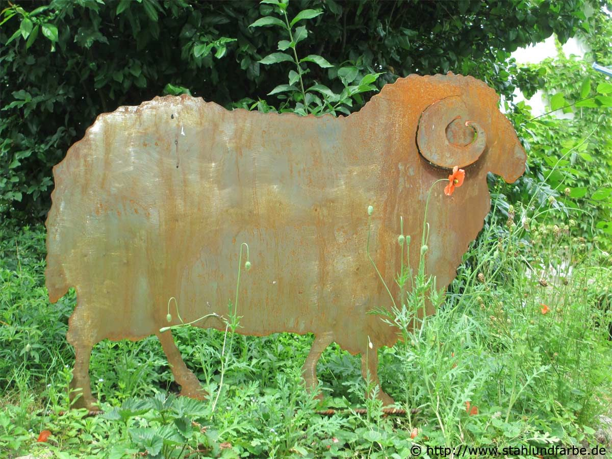 Schaf Gartenstecker Stahlblech Rostig Lebensgross