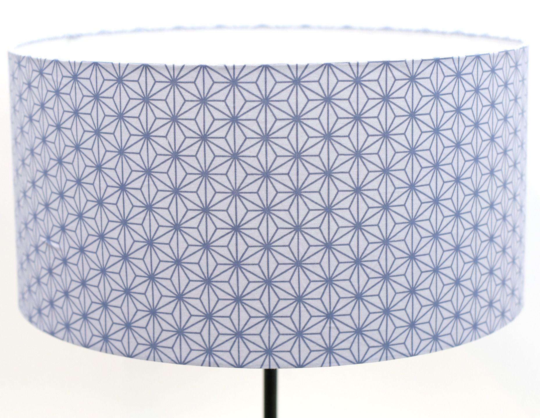 Abat jour ˜35 hauteur 20cm en tissu bleu motifs géométriques
