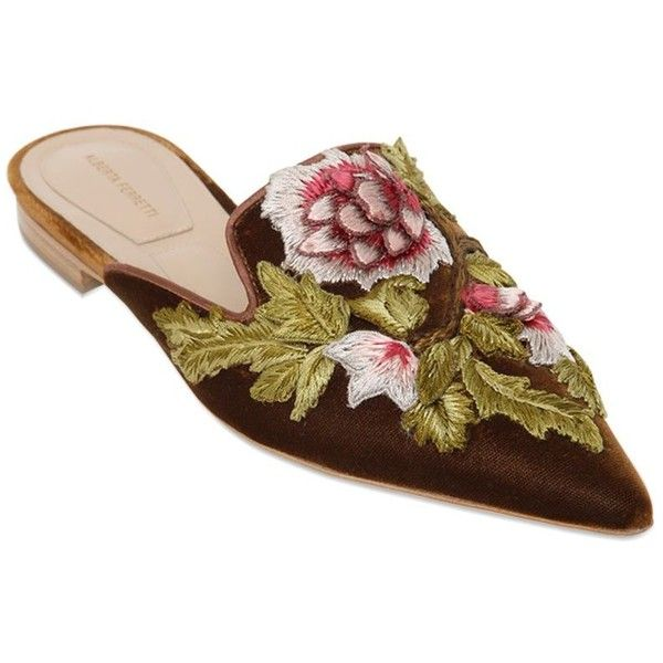 Alberta Ferretti Women 10mm Embroidered Velvet Mules ($1,295) ❤ liked on  Polyvore featuring shoes