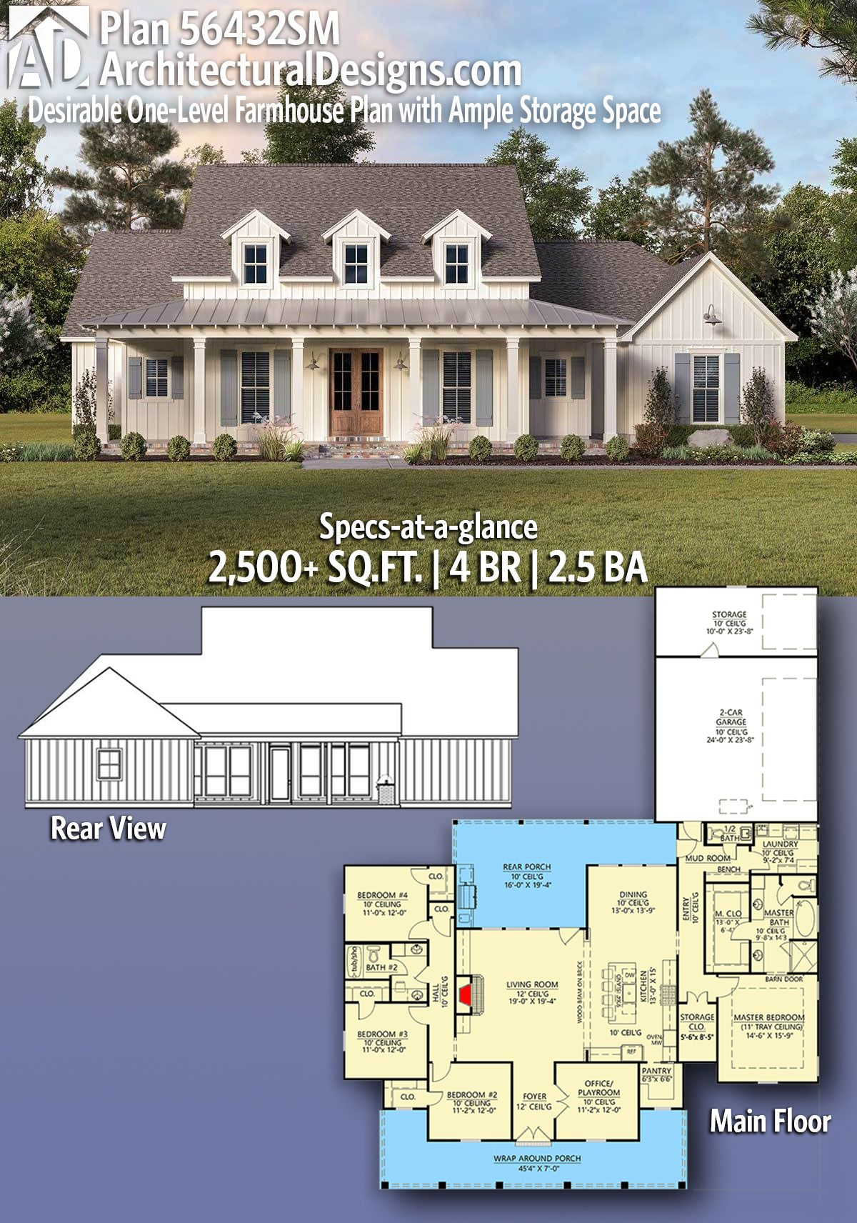 Photo of Plan 56432SM: Desirable One-Level Farmhouse Plan with Ample Storage Space