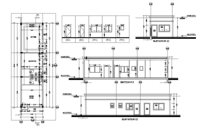 Row House Layout Plan With Door Window Drawing Download DWG File