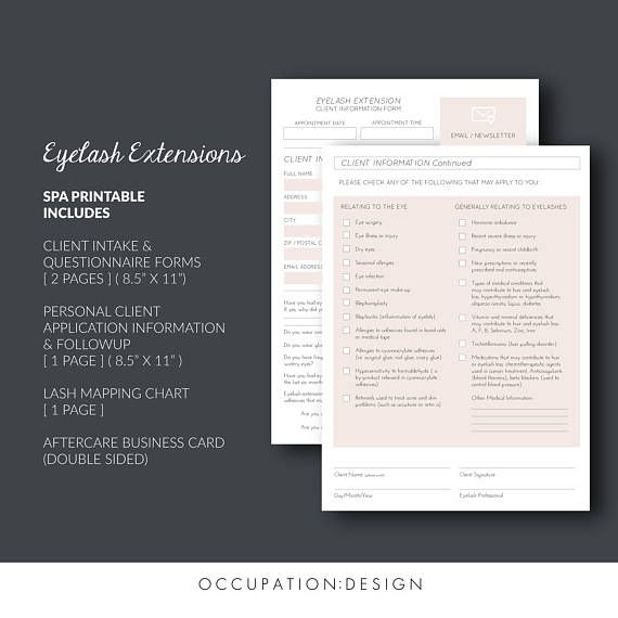Eyelash Extensions Client Information Forms Aftercare Instruction