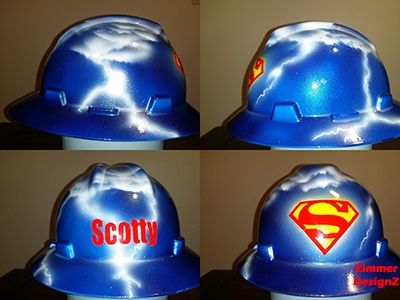 free shipping 5aeec 41b88 Custom airbrushed superman hard hat with lightning