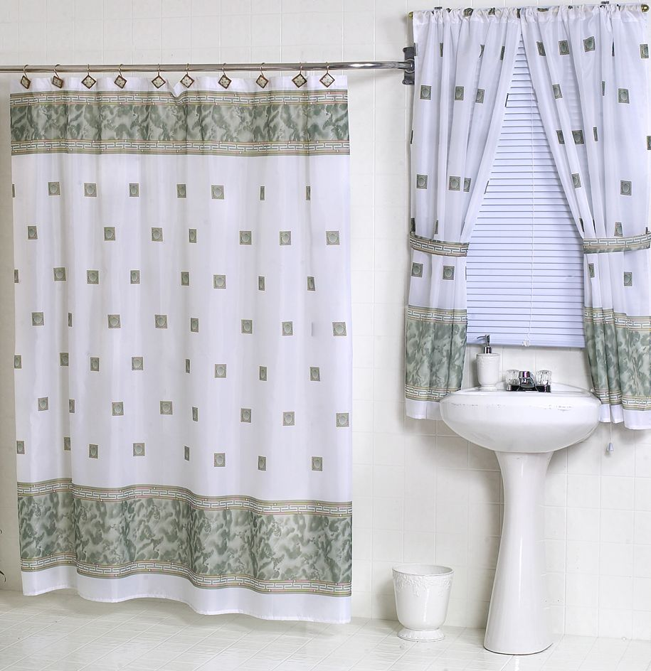 Photo Album For Website Windsor Jade Green Fabric Shower Curtain Matching Window Curtain within sizing X Bathroom Window And Shower Curtain Sets In case you have been sh