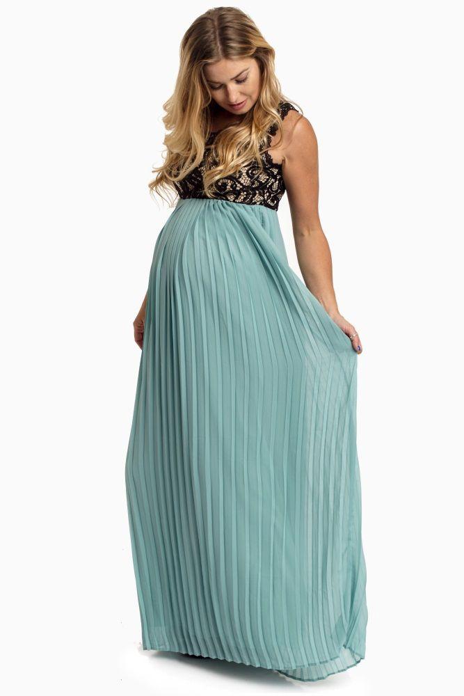 0881c9b3bff9 Dusty-Aqua-Pleated-Chiffon-Lace-Top-Maxi-Dress | Maternity | Pink Blush ~  Beautiful dress