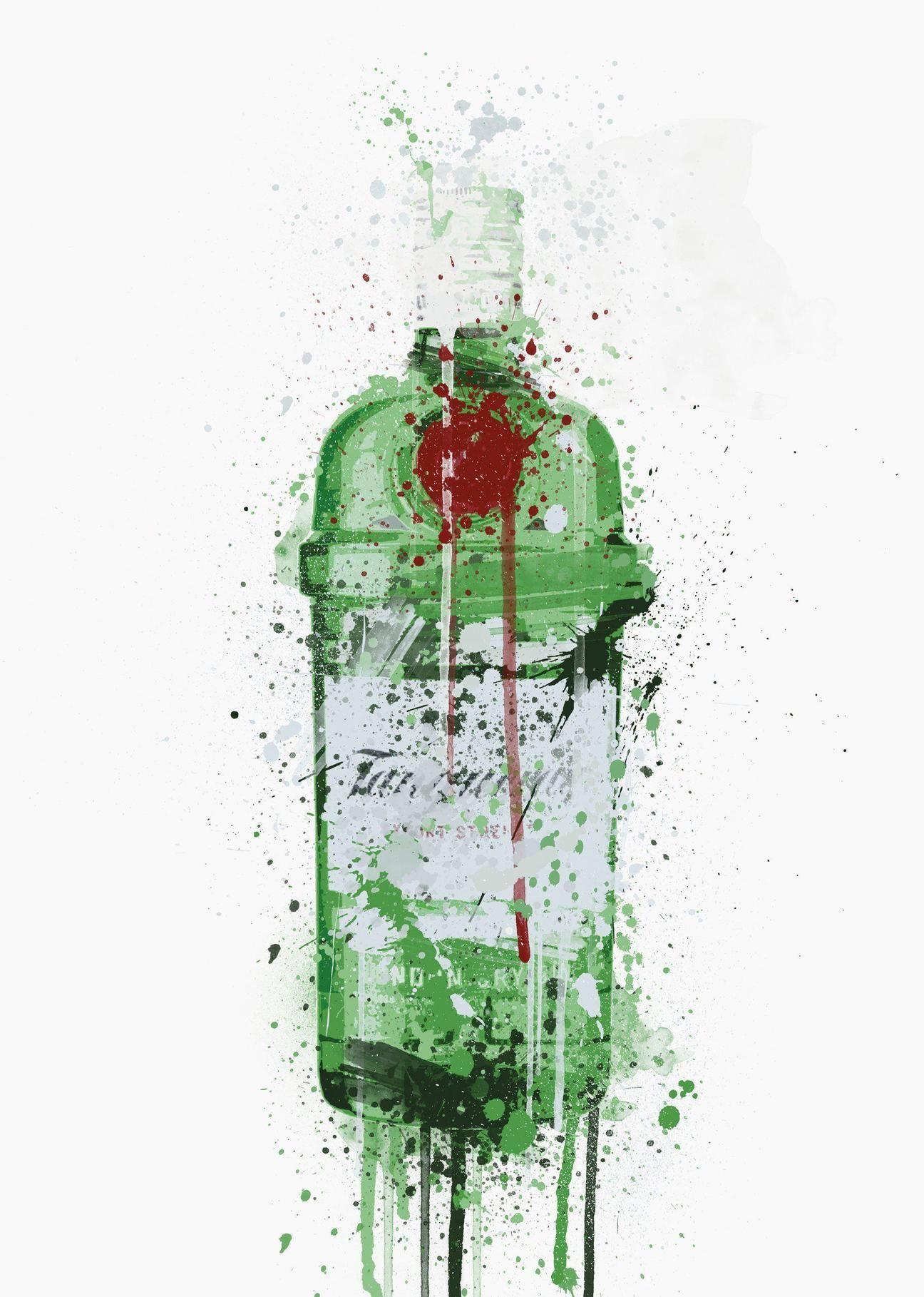 Watercolour Splatter Blue Blackberry Gin Bottle Wall Art Framed Print