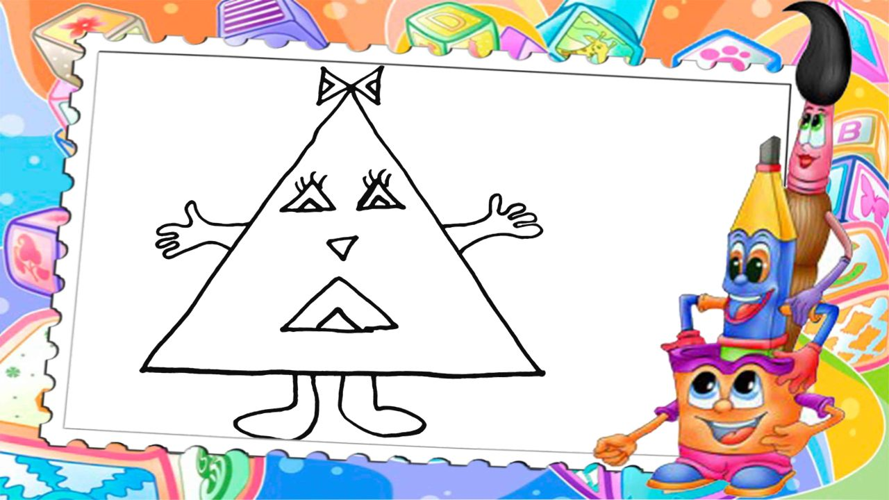 Learn how to draw and color a triangle for kids Drawings