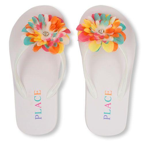220a705c6b7eb Girls  flip-flops in embellished flowers