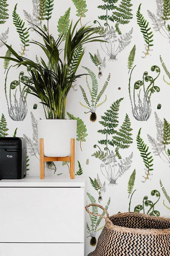 Ferns On White Removable Wallpaper 504 Etsy Botanical Wallpaper Removable Wallpaper Temporary Wallpaper
