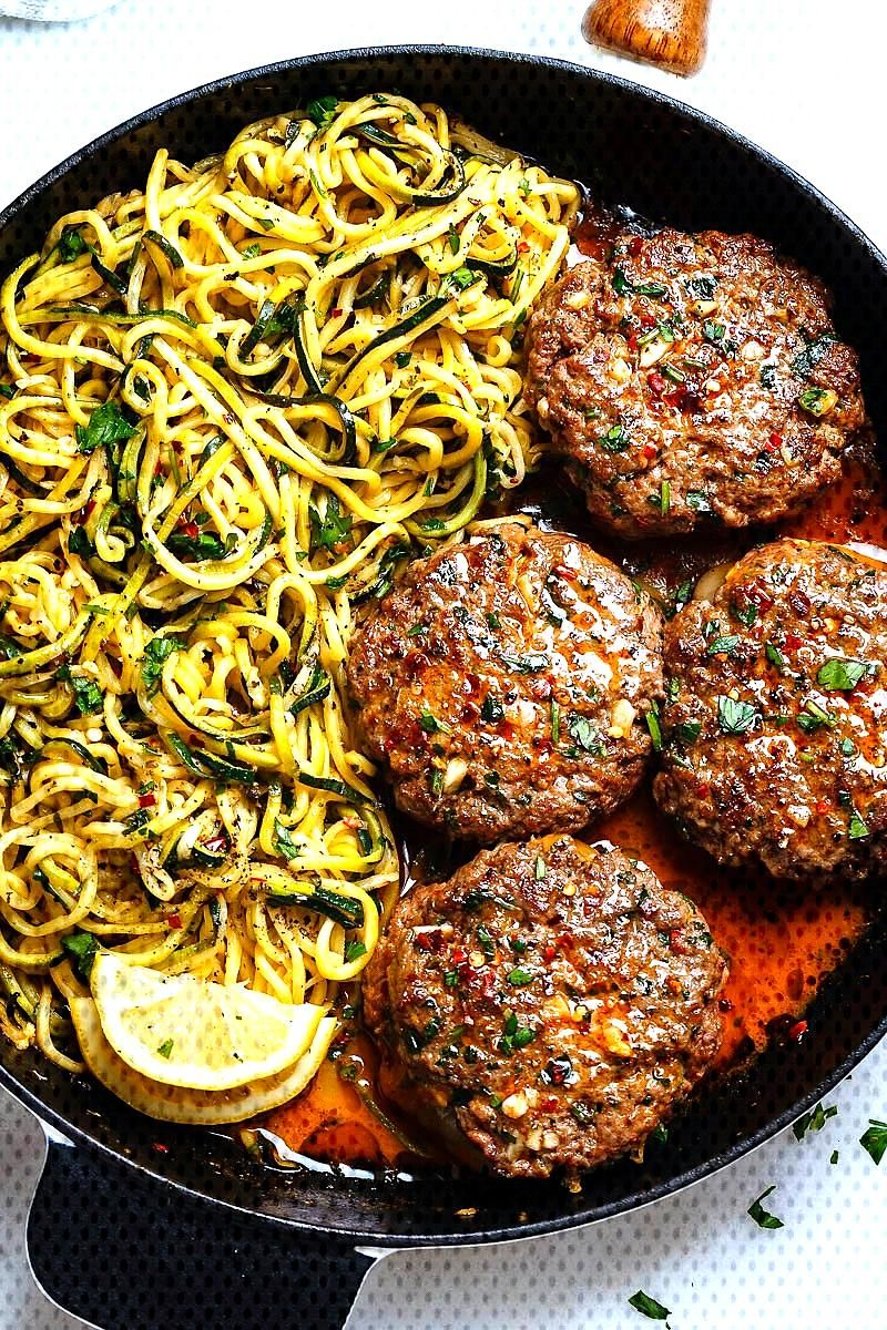 Wonderful Photo Cheesy Garlic Burgers with Lemon Butter Zucchini Noodles Concepts  Monday/Tuesday