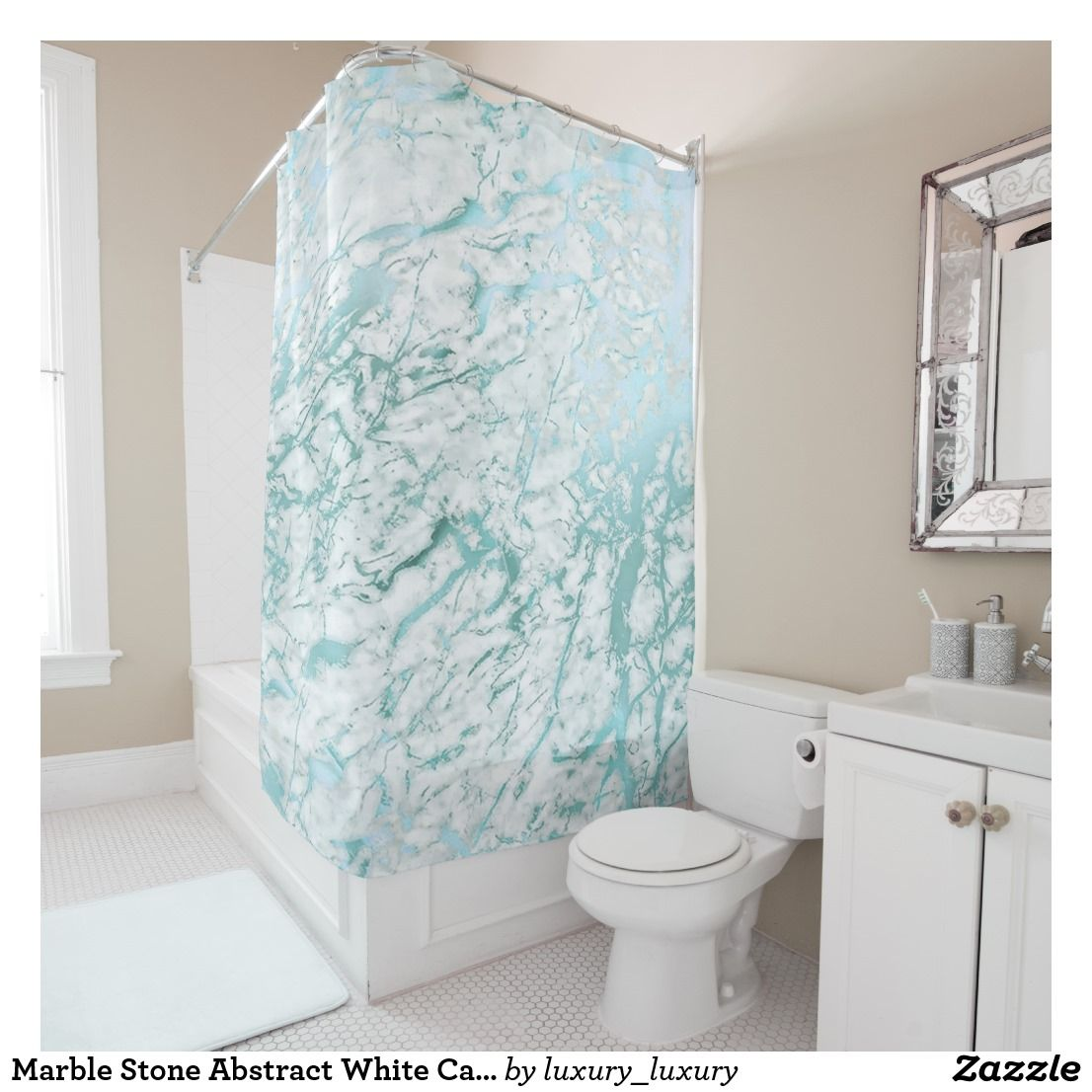 Marble Stone Abstract White Carrara Blue Teal Shower Curtain