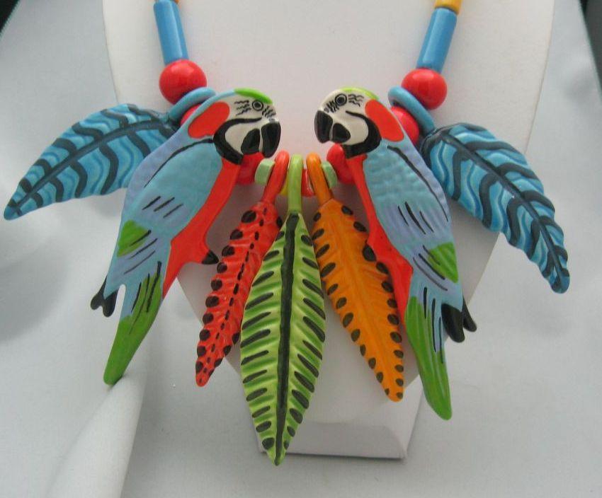 California Ceramic Parrot Pearls Jungle Paradise Parrot Necklace