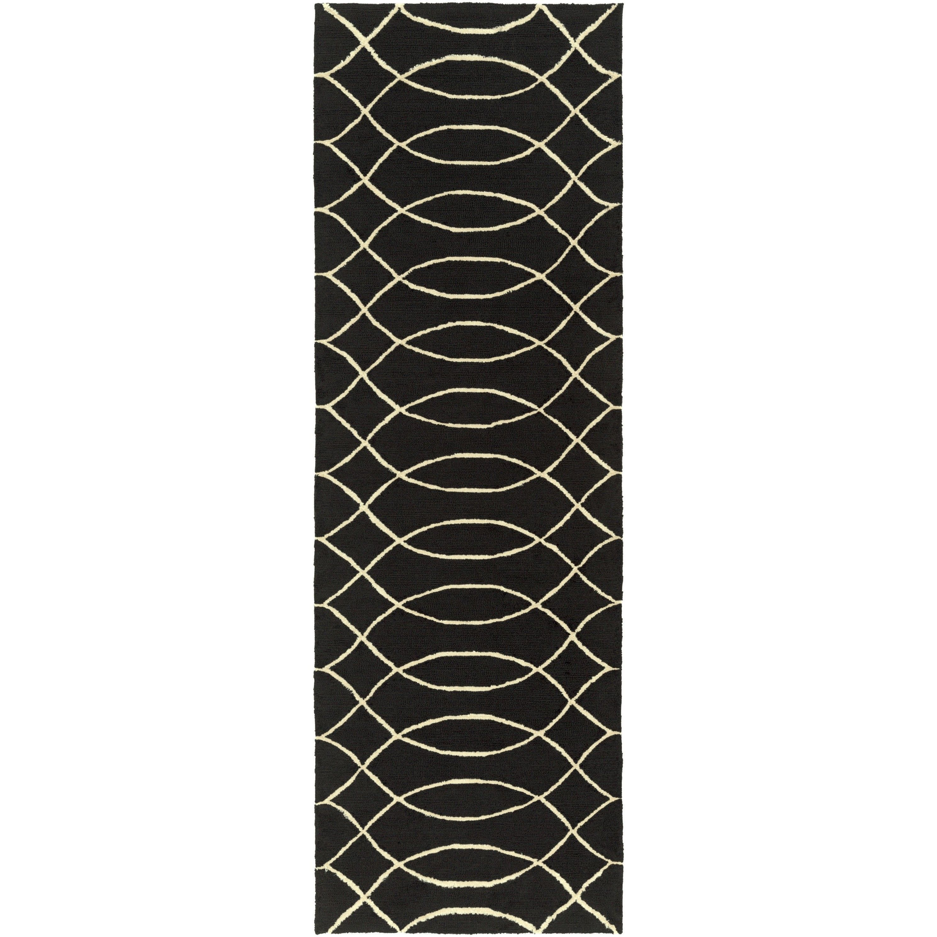 Surya Hand Hooked Newspaper Rug (2'6 x 8') (Spa Blue), Beige, Size 2' x 8' (Plastic, Abstract)