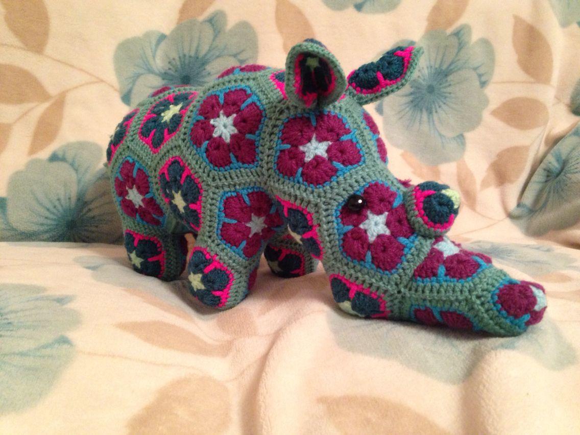 Crochet Rhino. Pattern from Heidi Bears | African flower | Pinterest ...