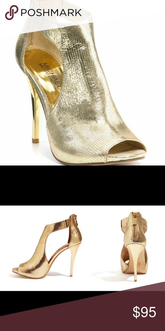 7efb1fe4714 Michael Kors Josie Gold Heels DETAILS   CARE A galvanized metallic heel  glams up a peep