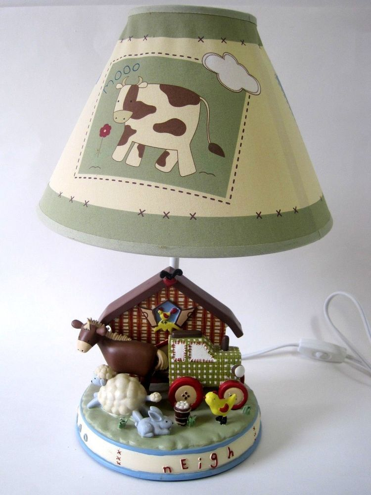 Baby Nursery or Toddler Bedroom Bedside Lamp & Shade Farm Animals ...