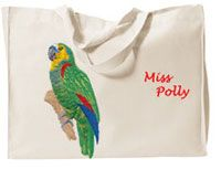 Bird Tote Bag!  WOW, this adorable Large Tote can be embroidered with your Pick of my Bird Embroidery Designs. This Sample Photo shows a beautiful Parrot. Just look at all those beautiful colors! I carry many different Bird Designs. If you don't see the Bird you desire on the Drop Down List of choices, please let me know.  If you wish, you can add the option of your Birds Name, Aviary Name, Business Name?  Use this code  BARKPURR  now for 10% off your order.