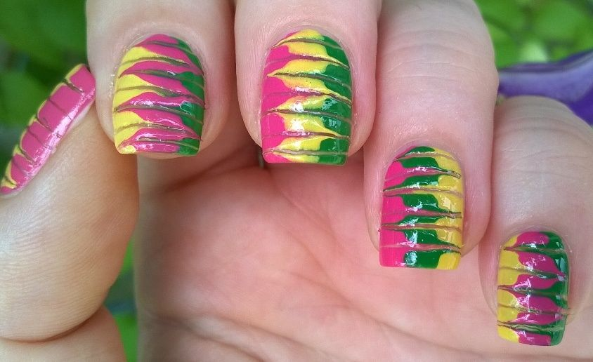 Cheerful toothpick marble #nailart for #summer ! For more easy ideas ...
