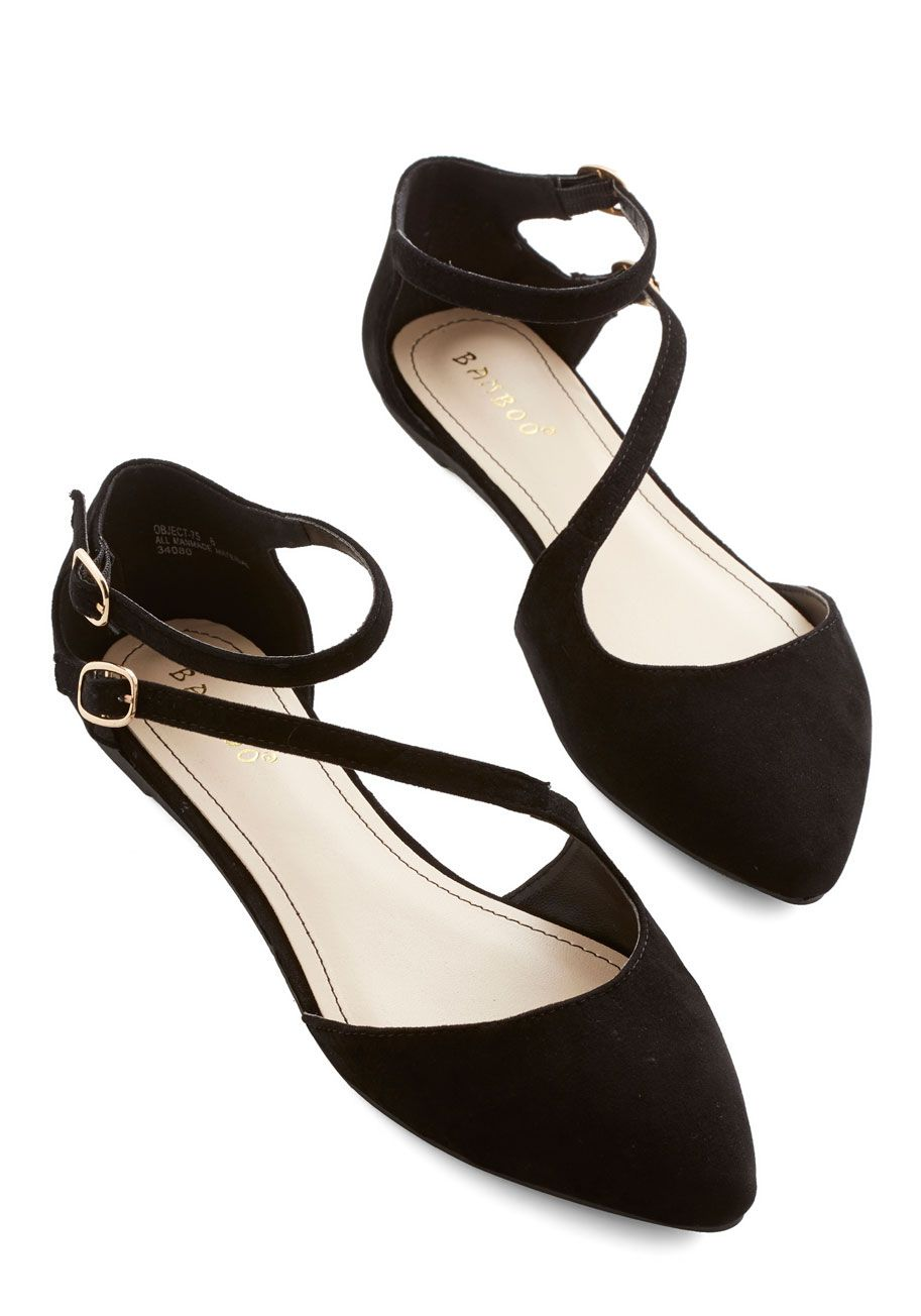 A Day in Your Shoes Flat in Noir. Fasten the gold buckles of these dOrsay flats to see what charming things come of an afternoon in your new kicks! #black #wedding #modcloth