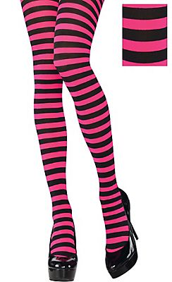 272574f33 Adult Pink and Black Striped Tights