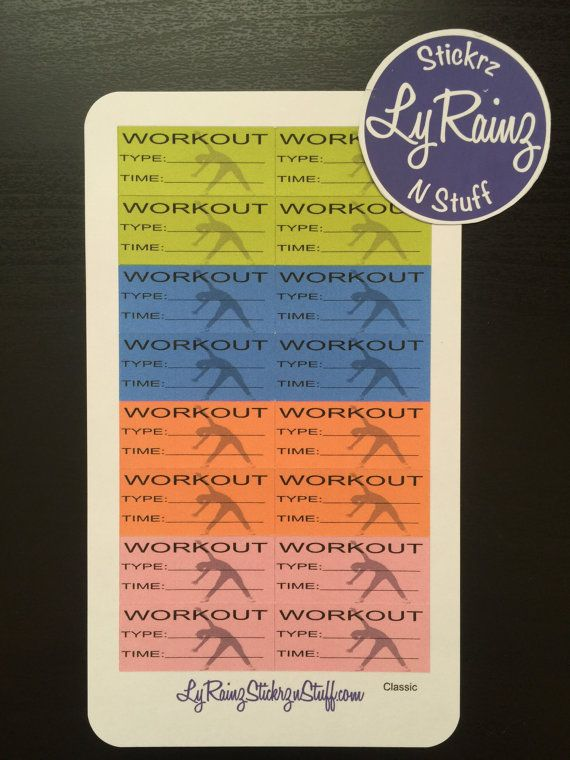 Workout Stickers for the weekly layout section in then Compact and - workout sheet