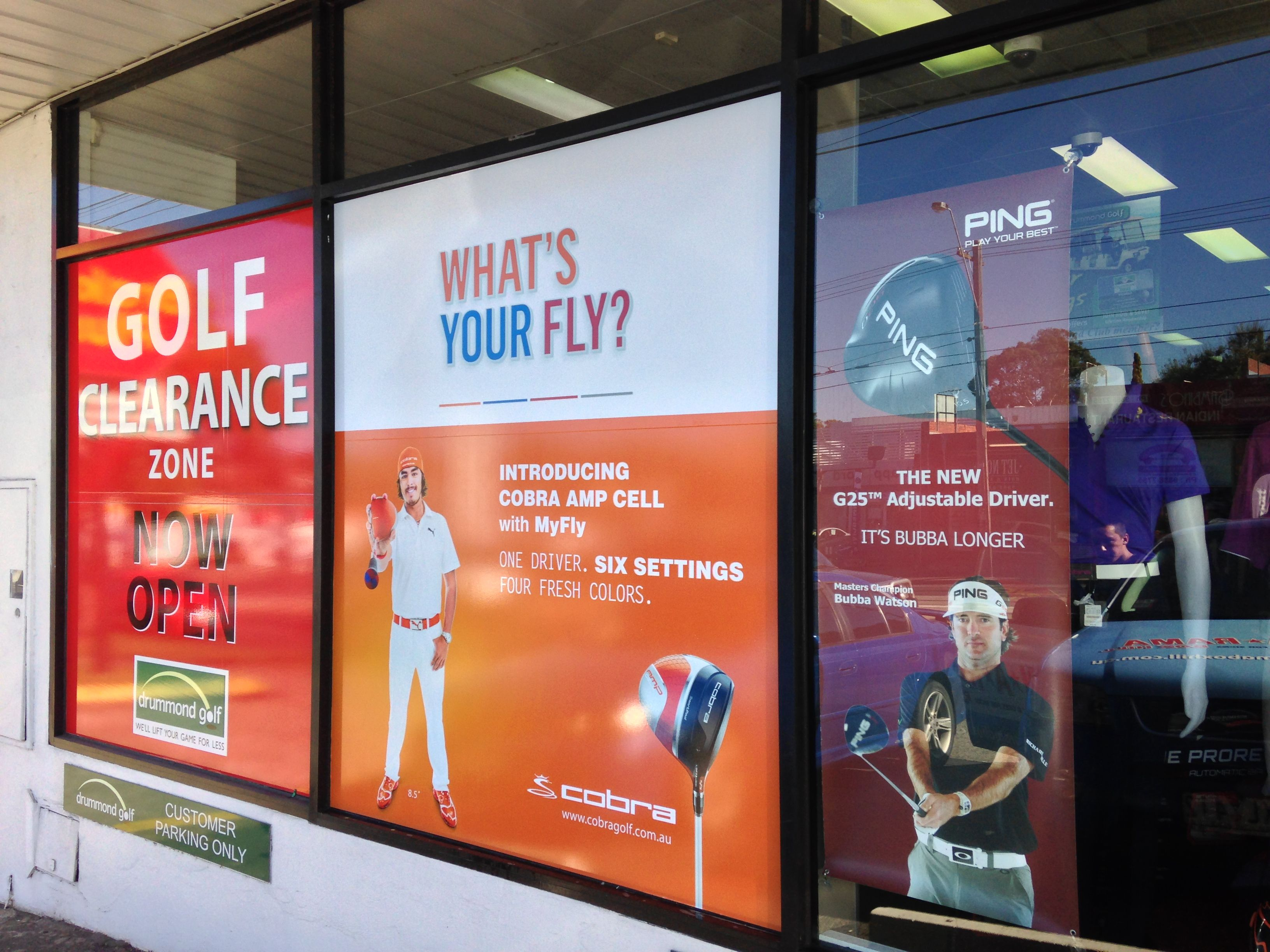 Large digitally printed stickers for drummond golf installed by Sign A Rama Box Hill.