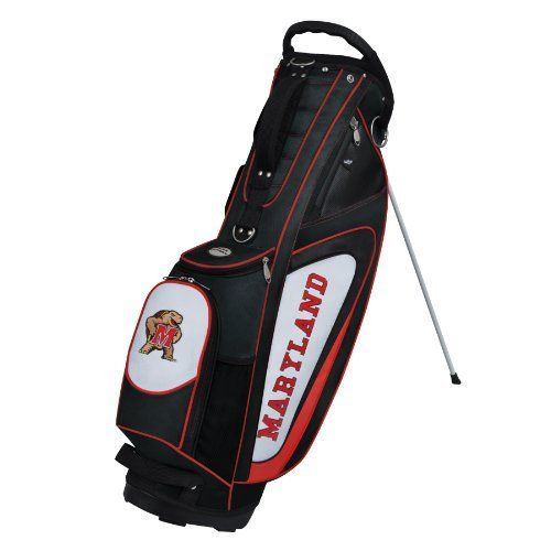 NCAA Maryland Terrapins Gridiron II Stand Bag by Team Effort. $149.95. 840D nailhead nylon construction provides protection from wear, tear, and the elements. Two-point umbrella holding system. Removable zippered rain hood included. Oversized towel ring with accessory strap. 5-way top with integrated molded handle and two full length dividers. Vibrant collegiate colors and four embroidered collegiate trademarks enable you to prominently display your support for y...