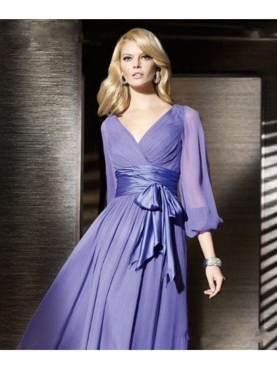Cheap Purple Long Sleeves Chiffon Prom Evening Formal Dresses Wedding Guest 99901038