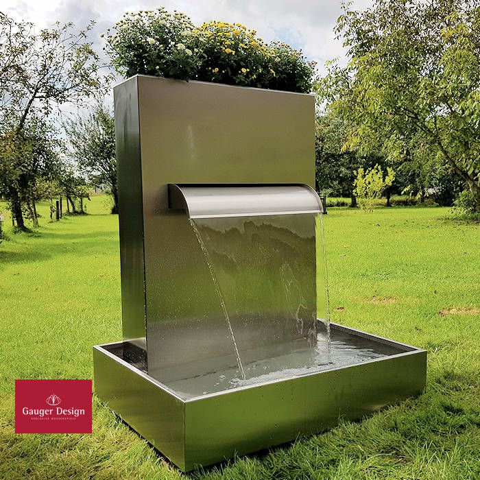 Edelstahlbrunnen Vivien Mit Wasserfall Und Pflanzkasten Gartenbrunnen Wasserelemente Im Freien Brunnen Terrasse