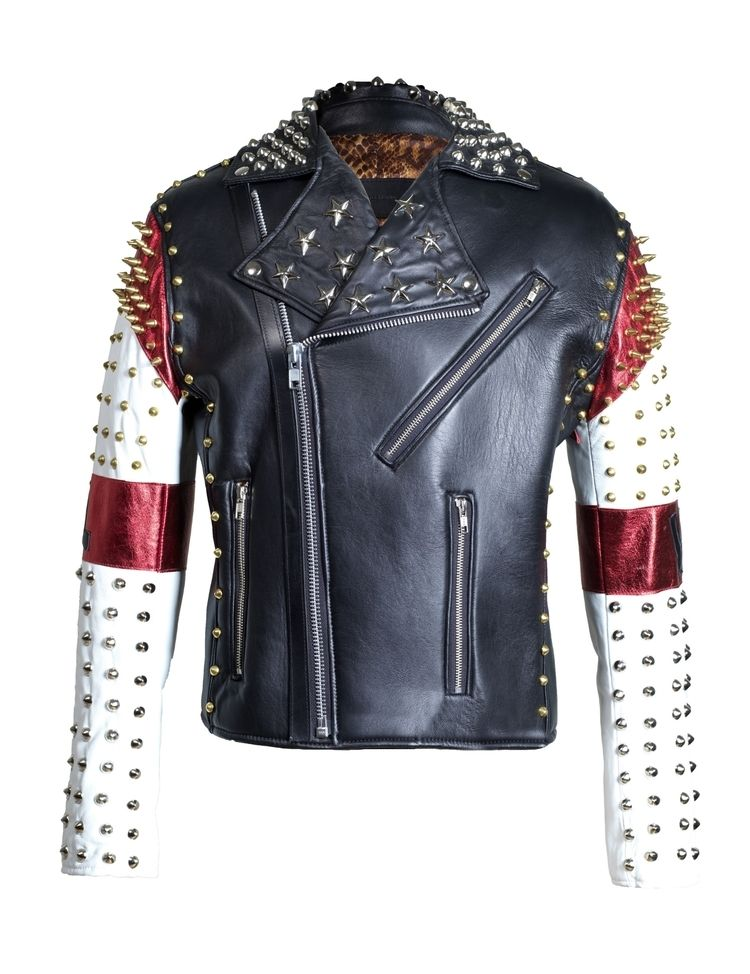 Mens Red Punk Style Studded Genuine Leather Jacket Handmade Real Leather Jacket