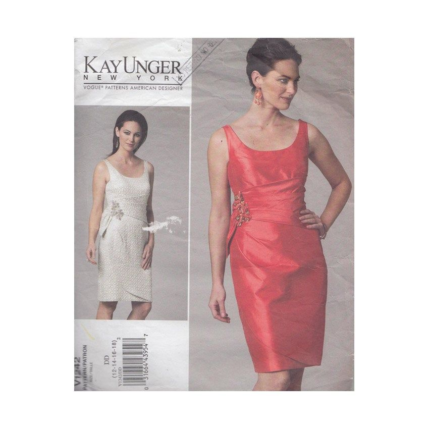 Womens Fitted Cocktail Dress With Scoop Neck Vogue Sewing Pattern
