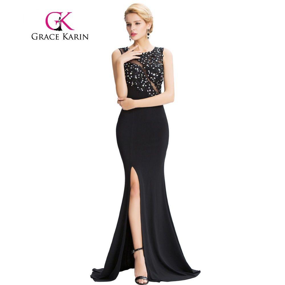 ed2700dc0f New Grace Karin Sleeveless Split Mermaid Evening Dress Floor Length Elegant Long  Black Formal Dresses Evening