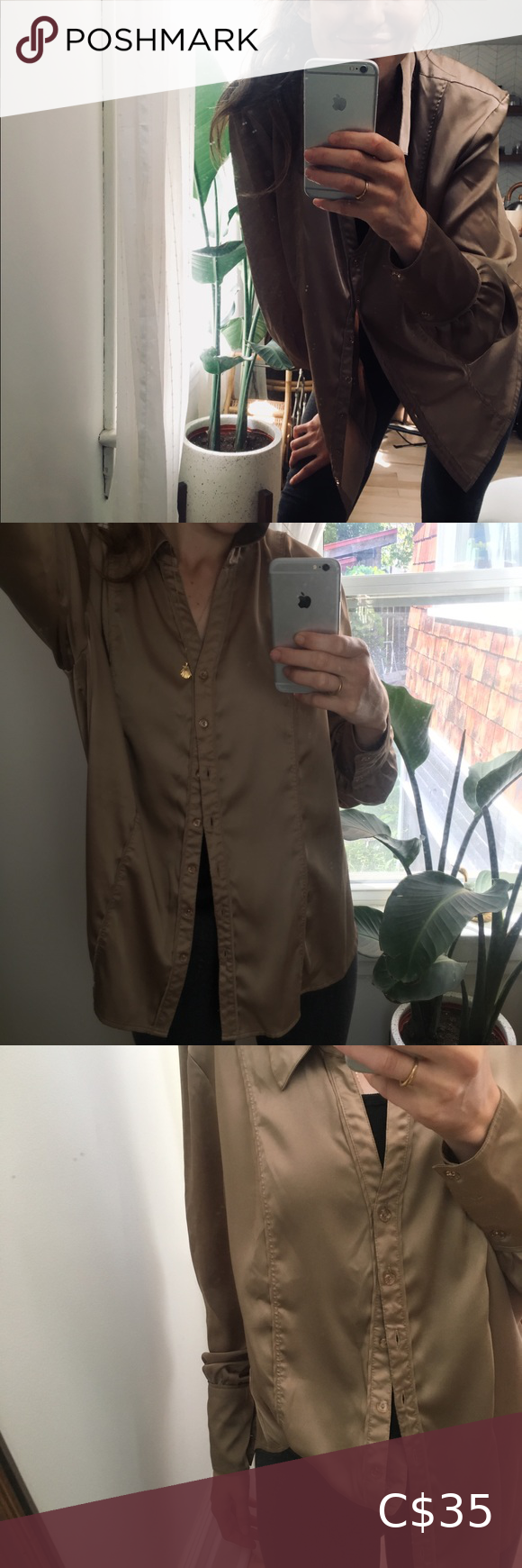 Vintage Oversized Button Up | Gold Beige
