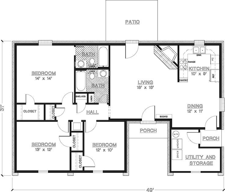 2 Bedroom House Plans 1000 Square Feet Home Plans Homepw26841 Modular Home Floor Plans New House Plans 1200 Sq Ft House