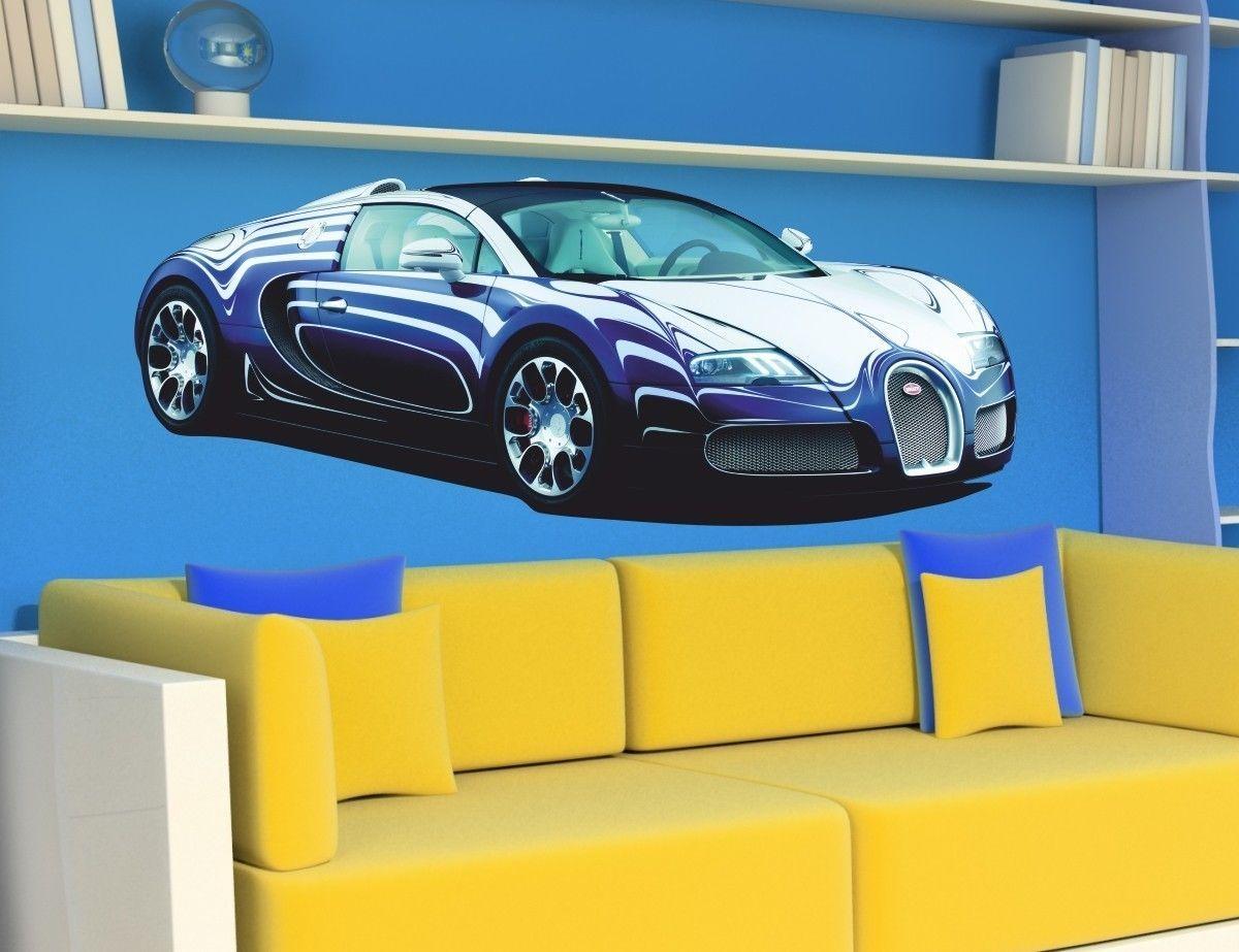 WALL STICKERS CARS Sport Racing Car BUGATTI VEYRON Sticker Wall ...
