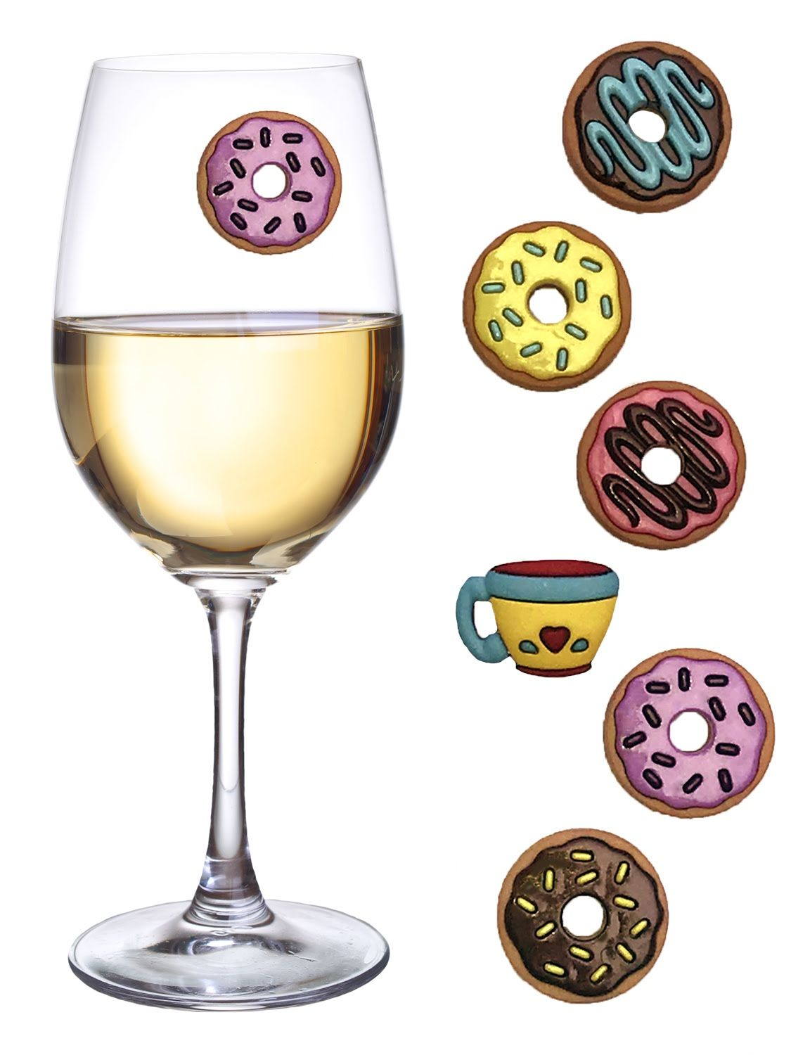 Beach Wine Charms Set of 12 Magnetic Drink Markers for Stemless Glasses Summer Charms Champagne Flutes and More