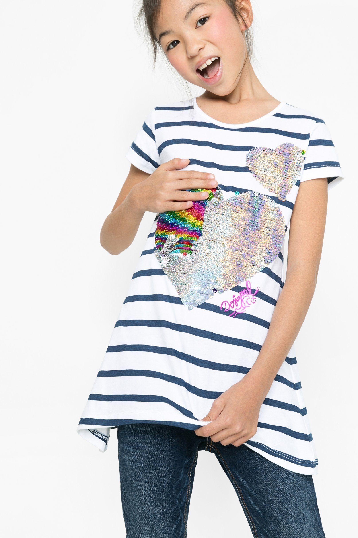 Lentejuelas Para Shirts Rayas A Con China Niña Sequins Camiseta tTqUav